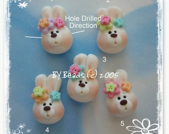 Easter Bunny Head Polymer Clay Charm Bead, Scrapbooking, Bow Center, Pendant, Cupcake topper, Magnet, Ring