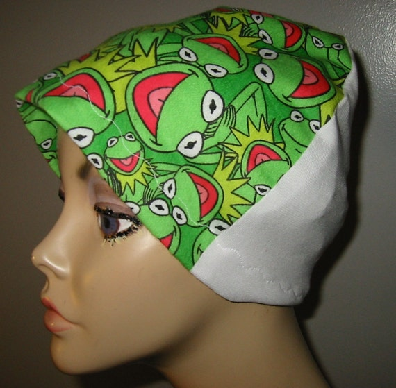 Kermit the Frog  Kids and Adults Flannel Sleep Cap, Turban, Chemo Hat