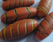 Vintage Glass Beads (2)  Red Feather Trade Beads