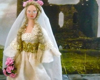 Medieval Bride Doll Miniature Historical Art Character by Uneek Doll Designs