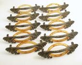 Vintage Hardware Metal Pulls Furniture Drawer Handles Set Leaf Design Celluloid Tortoise Ovals