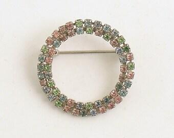 Vintage Brooch Pastel Pin Rhinestones Circle Prong Set Mid Century Costume Jewelry