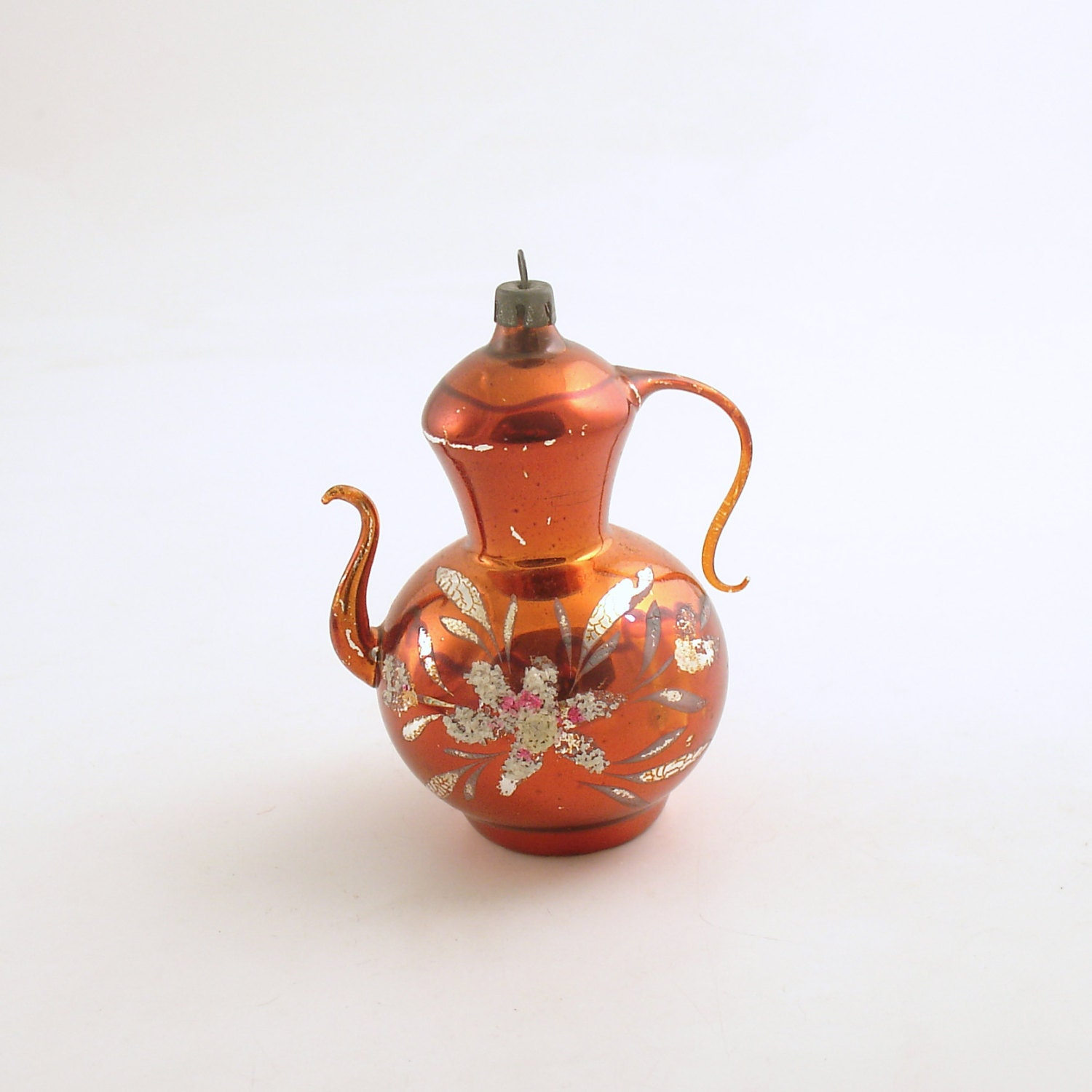 Vintage glass christmas ornament teapot