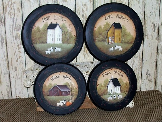 Stove Burner Covers Saltbox Hand painted  Primitive Folk Art Home Kitchen Decor OFG