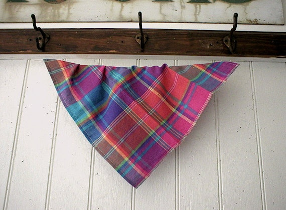 RESERVED for M. thru 04/28, 2 bandanas: Selvedge chambray stripe & madras - eco vintage fabric