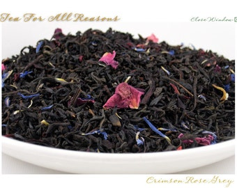 TEA - WINTER SALE - Crimson Rose Grey - (Specialty Black) - 2oz. bag