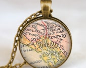 Juneau map necklace, Juneau pendant, Juneau map jewelry gift for him her  with gift bag