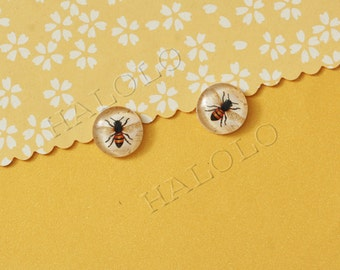 Sale - 10pcs handmade queen bee round clear glass dome cabochons 12mm (12-9708)