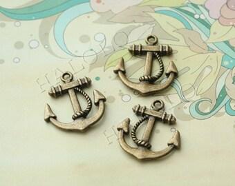 Sale - 10pcs antique bronze finish anchor pendant 23mm BN177B