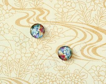 10pcs handmade flower glass dome cabochons 12mm (12-0793)