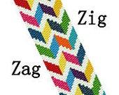 Peyote Pattern Zig Zag Rainbow Geometric Cuff Bracelet Pattern Digital PDF File 2 Drop Peyote