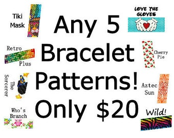 Peyote Patterns SALE - Pick any 5 Bracelet Patterns for Only 20.00 Delica Seed Bead Loom Square Stitch Patterns