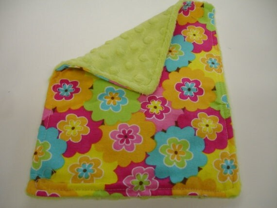 Bright Floral Flannel and Minky Baby Burp Cloth