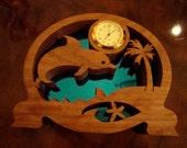 Handmade Cherry Leaping Dolphin Clock