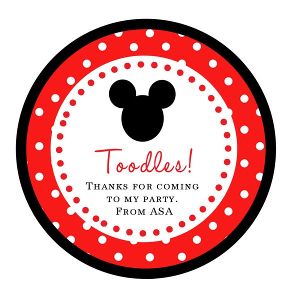 Mickey Mouse STICKERS toodles Cupcake Topper / Thank You Tag in RED / various sizes