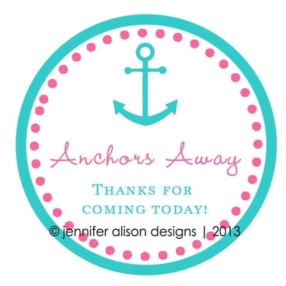 Nautical Anchor thank you round sticker label for birthday party, baby shower, etc MATTE FINISH