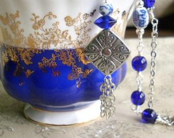 Cobalt Blue Antiqued Silver Asian Style Pendant Necklace
