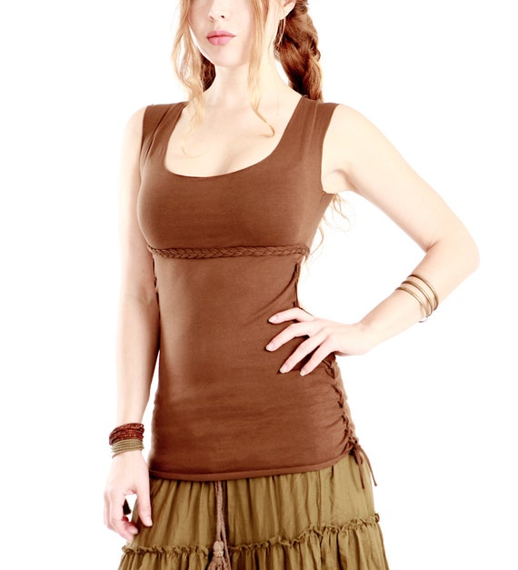 Brown womens braided top, stretchy cotton material, classy cut small only