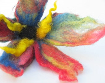 Hand Felted Flower In Primary Colors - Gift Under 20