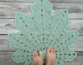 "Crochet Rug Leaf Shape Sage or Spruce Green Cotton Non Skid 24"" wide"