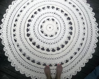 "Off White Cotton Crochet Rug in Large 60"" Circle Non Skid"