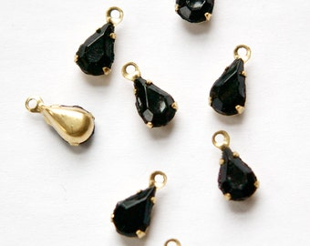 Vintage Black Glass Faceted Teardrop Stones in 1 Loop Brass Setting 8mm x 4mm par001Y