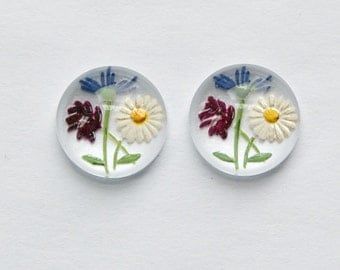 Daisy Wildflower rouge Version intaille Cabochon de verre 13mm (2) int010C