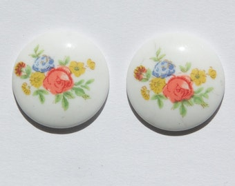 Vintage White with Flowers Glass Cabochon Japan 18mm cab208