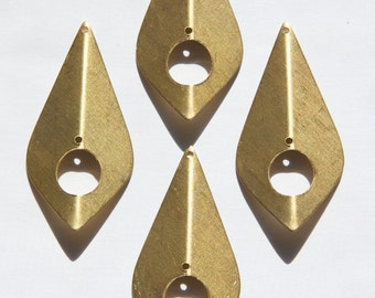 2 Hole Raw Brass Pinched Teardrop Pendant Findings (4) mtl382