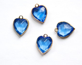 Vintage Faceted Sapphire Brass Set Heart Drops Charms chr055