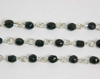Vintage Jet Black Faceted Glass Bead Silver Tone Links chn042