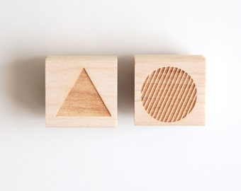 """Choose 2 Mini Rubber Stamps 1"""" (Wood Mounted) Thank You, Made with Love, Handmade, Monogram or Abstract Geometric Shapes, Petites Collection"""
