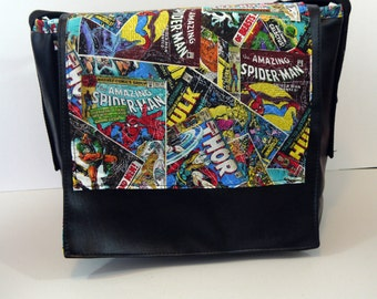 Marvel Comic Book Vinyl Messenger Bag - Marvel Heroes Avengers Thor Spiderman Iron Man Hulk