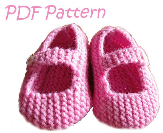 Knitting Pattern for Mary Jane Baby Shoes 6-12 by WildKittens