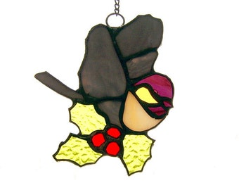 Handcrafted Stained Glass Chickadee with Holly Berries Suncatcher Sun Catcher