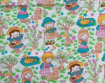 Seventies vintage childrens fabric - 1 yard.