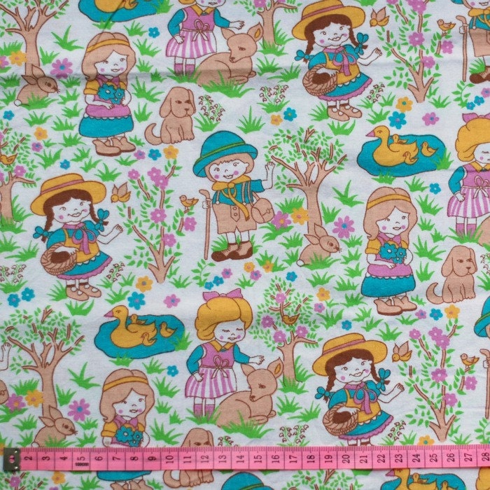Seventies vintage childrens fabric 1 yard for Kids fabric by the yard