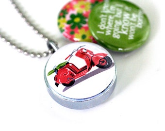 Scooter Locket Necklace, Scooter Jewelry, Journey, Red Scooter Necklace, Recycled, NEVER BORING, Magnetic Locket, by, Polarity