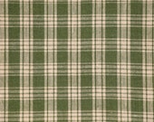 Homespun Fabric |  Homespun Material | Green And Tea Dye Basic Plaid 27 x 44