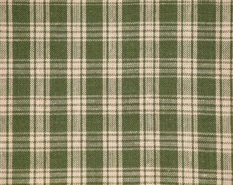 Homespun Fabric |  Homespun Material | Green And Tea Dye Basic Plaid | 23 x 44