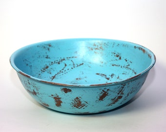 Wood Bowl Distressed Indian Turquoise Blue Large