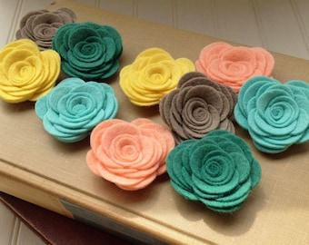 Wool Felt Flowers - Large Posies - Whimsical Summer Collection - The Original Wool Felt Posies  Mint Green Felt & Coral Felt