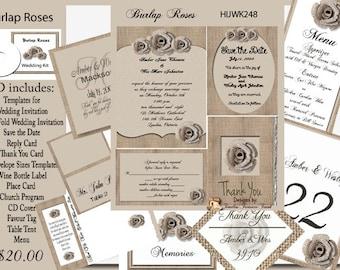 Burlap and Roses  Wedding Invitation Kit on CD
