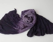 Over-sized deep purple ombre silk habotai scarf.