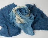 Blue and white  linen woven scarf dyed with natural plant extracts.