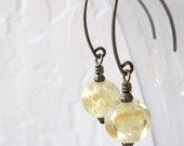 Yellow Honey Lucite Earrings, Vintage Beads, Antique Brass Dangle