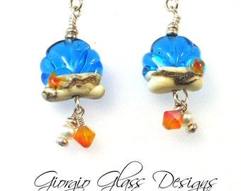 Seashells by the Seashore Lampwork Beads Earrings  SRA