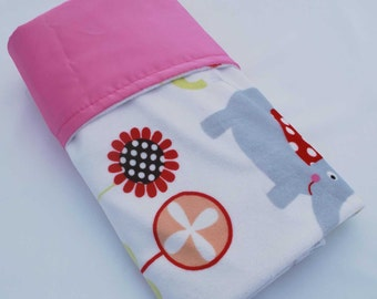 CLEARANCE SALE !! / Pretty Elephant minky print with pink satin......Comforting fabrics for baby