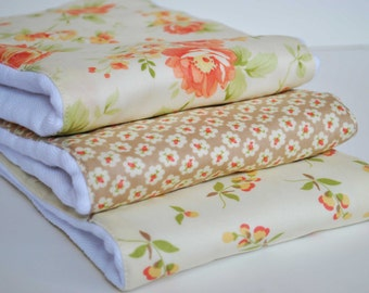Rose Garden....Set of (3) VERY ABSORBENT BURPIES...... Coordinating  fabric on 3ply cotton burp cloths......  Very handy for baby care