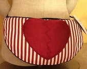 Red n White Stripes w Heart BUSTLE PILLOW PAD Burlesque Gothic Victorian Steampunk